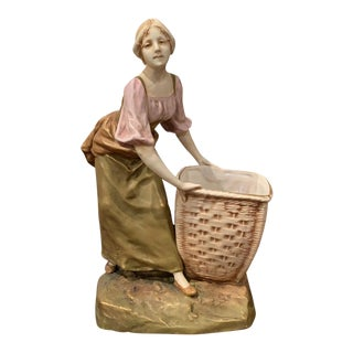 Early 20th Century Czech Royal Dux Bohemian Carved Porcelain Woman Sculpture For Sale