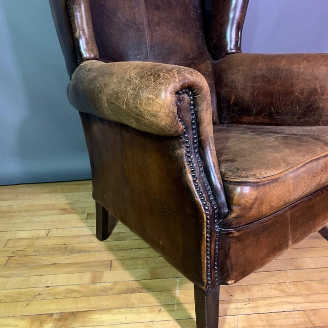 Brown Vintage Stitched-Leather Wing Chair, 20th Century For Sale - Image 8 of 11