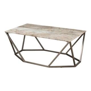 Trapezoid Coffee Table, Marble Top For Sale