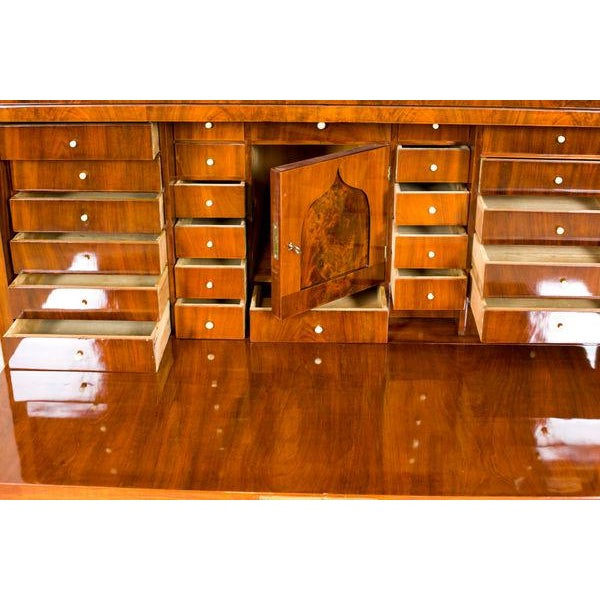 Wood 19th-Century Biedermeier Secretary Desk Veneered with Mahogany For Sale - Image 7 of 11