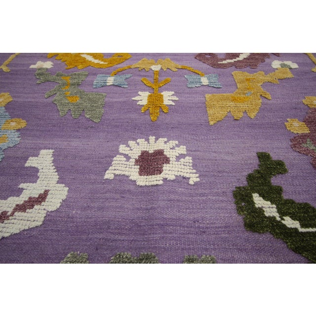 Early 21st Century Geometric Oushak High and Low Texture Rug- 10′5″ × 13′2″ For Sale - Image 5 of 10