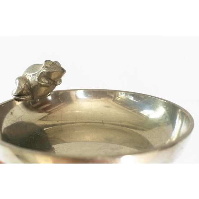 Vintage French Pewter Dish With Frog - Small Silver Ring Dish For Sale - Image 5 of 6