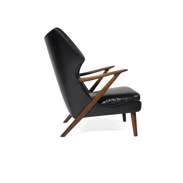 Danish Modern Kurt Olsen Danish Rosewood Black Leather Bear Chair For Sale - Image 3 of 11
