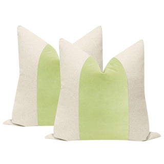 "22"" Celadon Velvet Panel & Linen Pillows - a Pair For Sale"