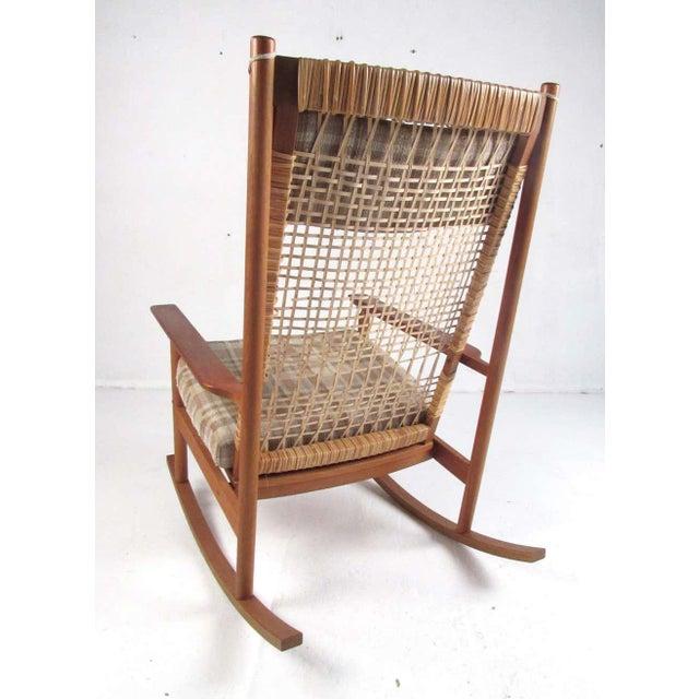 Mid-Century Modern Vintage Hans Olsen Teak Rocking Chair With Cane Back For Sale - Image 3 of 13