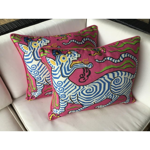 Fabulous printed design from Clarence House! Tibet Dragon is an exotic and stylised dragon/tiger printed on a Hot pink...