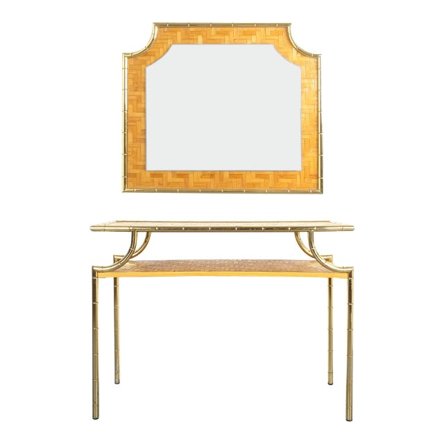 Bamboo Brass Console Table and Mirror, Italy 1950 For Sale