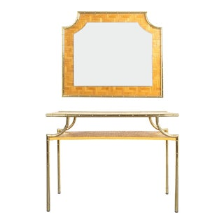 Bamboo Brass Console Table and Mirror Manner Gabriella Crespi, Italy 1950
