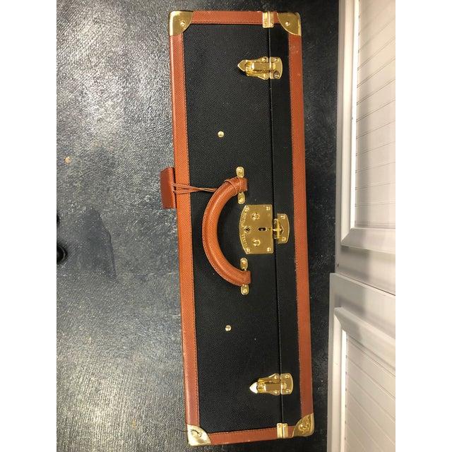 Mid-Century Modern Bottega Veneta Vintage Coated Canvas Hard Suitcase Luggage For Sale - Image 3 of 7