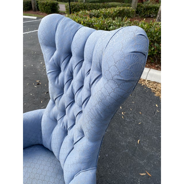 Mid-Century Modern Vintage Butterfly Tufted Wing Back Bergere's For Sale - Image 3 of 8