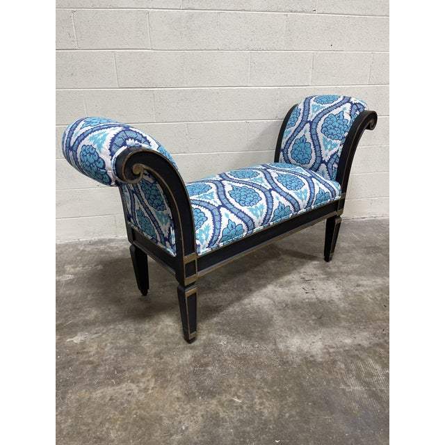 Italianate Scrolled Arm Custom Designer Bench For Sale - Image 12 of 12
