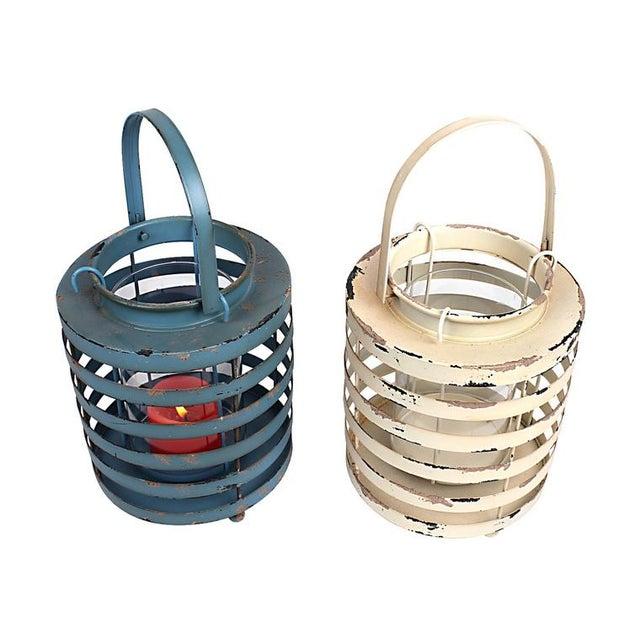 Rustic Metal Lantern Candle Holders - Set of 2 - Image 1 of 3