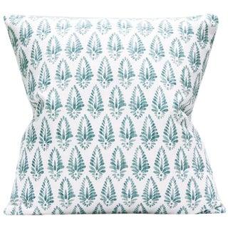 Contemporary Aqua and White Print Decorative Pillow Cover - 20x20 For Sale