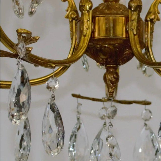 Brass Brass & Crystal Chandelier For Sale - Image 8 of 10