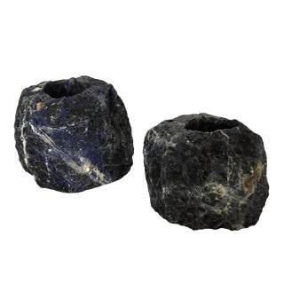 Natural Cut Blue Sodalite Stone Votive Candleholders - a Pair For Sale