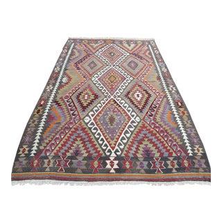 "Vintage Turkish Geometric Design Kilim Rug-5'5'x7'7"" For Sale"
