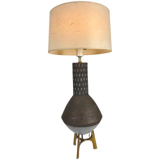 Elusive Lightolier Ceramic and Brass Table Lamp Italian Pottery For Sale