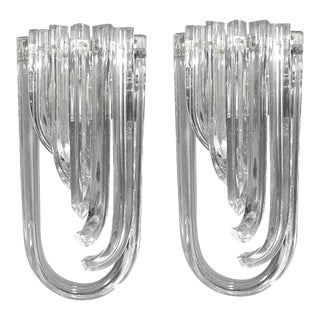 Mid 20th Century Vintage Curved Triedri Sconces by Venini - a Pair For Sale