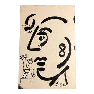 Original Vintage Peter Robert Keil Abstract Face Painting For Sale