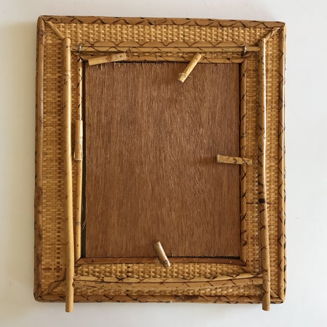 Brown Vintage Raymor Style Rattan Bamboo Tabletop Mirror For Image 8 Of 11
