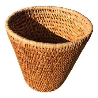 Vintage Woven Boho Chic Waste Basket For Sale