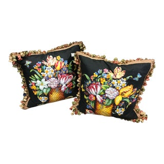 Vintage Mid-Century French Hand-Painted Throw Pillows - A Pair For Sale
