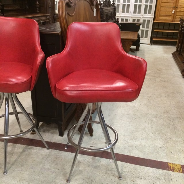 Vintage 1970s Red Bar Stools - Pair - Image 3 of 6