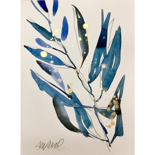 Blue Grass 4, Original Watercolor With Gold. For Sale