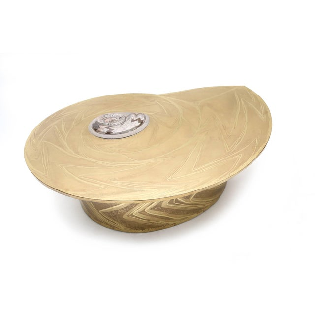 Marc D'Haenens Brass Coffee Table with Inlaid Polished Ammonite For Sale - Image 6 of 10