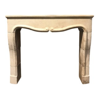 Hand-Carved Limestone Mantel For Sale