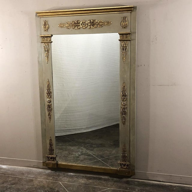 19th Century French Empire Painted Mirror from the Napoleon III Period features detailing that would have made Napoleon...