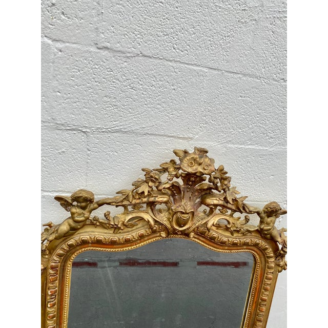 Wood French Giltwood Carved Flowers and Cherub Louis Style Mirror For Sale - Image 7 of 13