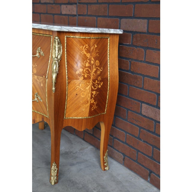 Brown 1900s Antique French Rococo Marble Top Nightstands-a Pair For Sale - Image 8 of 12
