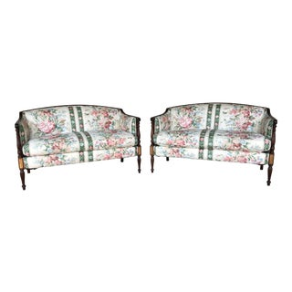 Hickory Chair Federal Style Floral Quilted Loveseats - A Pair