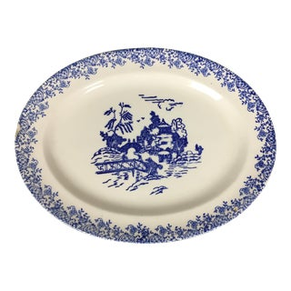 Vintage Blue & White Flow Willow Platter- Unmarked For Sale
