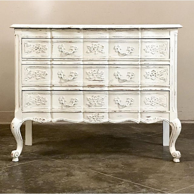 Country Antique Country French Provincial Painted Commode For Sale - Image 3 of 12
