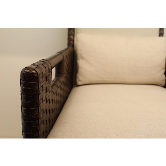 McGuire Thomas Pheasant Woven Leather Dining Arm Chair - Image 6 of 7