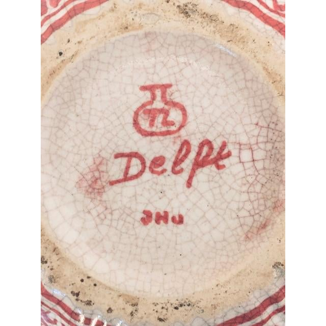 Brick Red 1950s Delft Red & White Lidded Bowl For Sale - Image 8 of 9