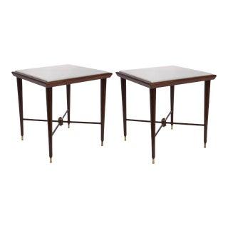 Liceu De Artes & Oficios Marble & Jacaranda Side Tables - a Pair For Sale