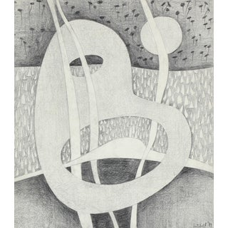 Jane Mitchell Black and White Surrealist Abstract in Graphite, 1979 1979 For Sale
