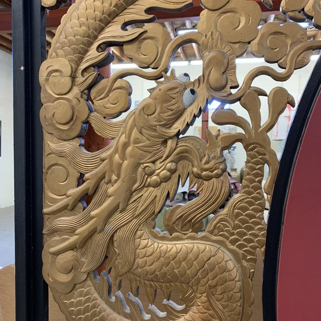 Room Size Wood Carved Chinese Moon Gate For Sale - Image 10 of 13