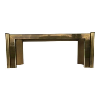 1990s Mid-Century Modern Mastercraft Brass & Wood Console Table For Sale