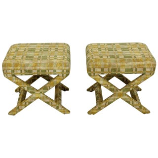 1960s Mid-Century Modern Billy Baldwin X-Base Benches - a Pair For Sale