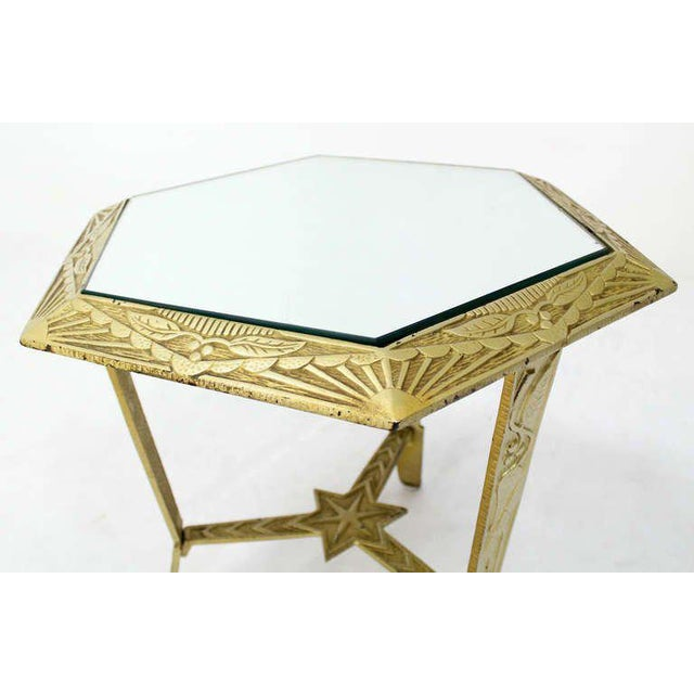 Mid-Century Modern, Hexagon-Top and Star Base Side or Occasional Table For Sale - Image 4 of 10