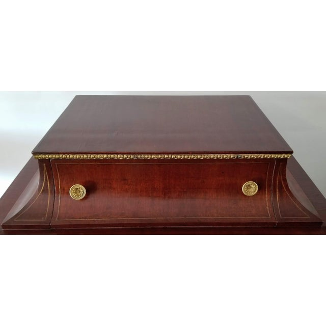 Metal Empire / Biedermeier Style Lyre Form Secretary Desk in Mahogany With Gilt Dolphins For Sale - Image 7 of 13