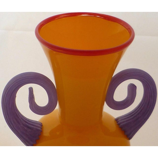 Italian Orange Studio Art Glass Vase For Sale - Image 3 of 9