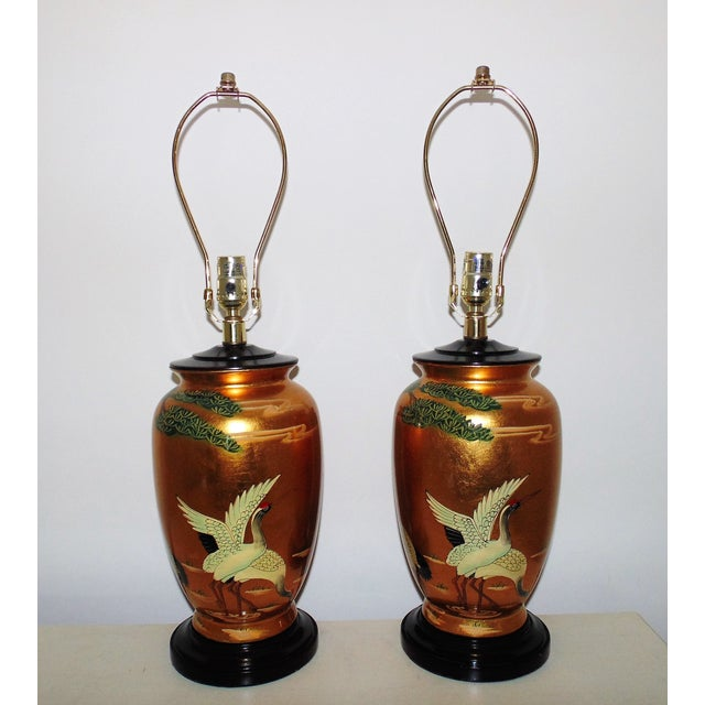 Vintage Chinoiserie Gold Table Lamps W/ Birds Herons - a Pair For Sale - Image 9 of 9