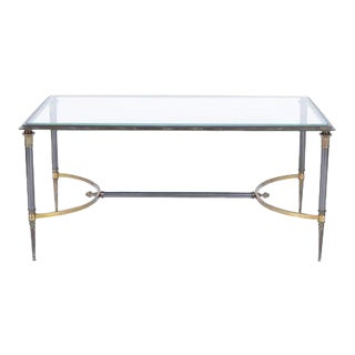 A Gilt Bronze and Steel Coffee Table By Maison Charles For Sale
