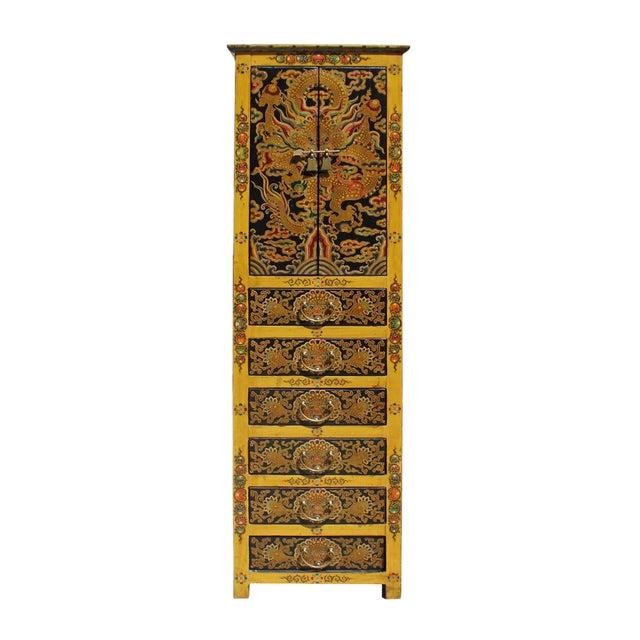 Chinese Tibetan Dragon Slim Multi Drawer Cabinet - Image 1 of 6