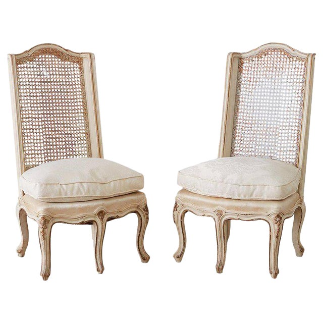Pair of French Provincial Five-Leg Slipper Chairs For Sale
